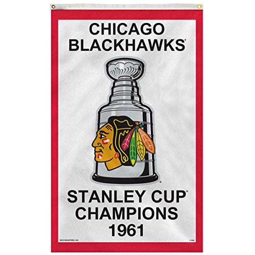 Rico Chicago Blackhawks 1961 Stanley Cup Champions 3' x 5' Vertical Banner Flag by Rico