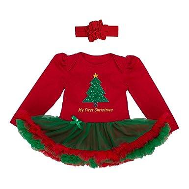 dac9cf111f0ca YuanDiann Bébé Fille 2 Pcs Déguisement Noël Vêtement de Baptême Nouveau Né Habit  De Noel Enfant Fete Tenue Ensemble Tutu Barboteuse Robe + Bandeaux ...