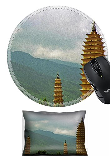 MSD Mouse Wrist Rest and Round Mousepad Set, 2pc Wrist Support design 36472835 Stain Resistance Kit Kitchen Table Top Desk C Photo of three famous pagodas in Dali Yunnan Province - Tabletop Pagoda