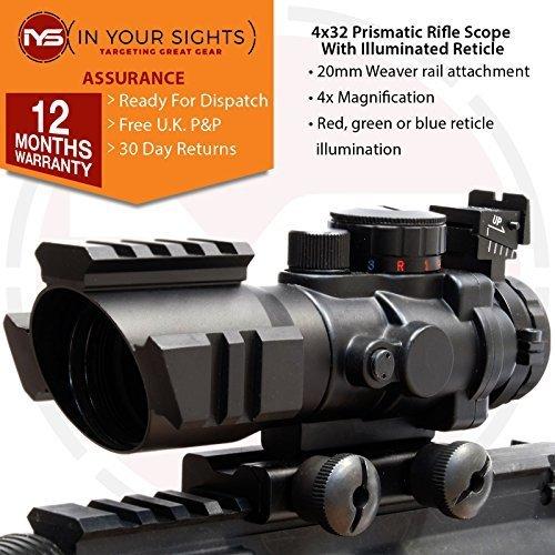 SUS MONUMENTOS 4x32 Prismáticos Alcance del rifle con WEAVER Rieles In Your Sights