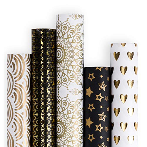 RUSPEPA Gift Wrapping Paper roll-White and Black with Gold Foil Pattern for Wedding,Birthdays, Valentines, Christmas-5 Roll-30Inch X 10Feet Per Roll -