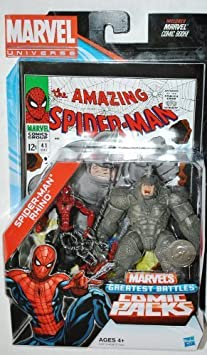 Marvel Universe Spider-Man & Rhino Exclusive Comic Pack Includes ...