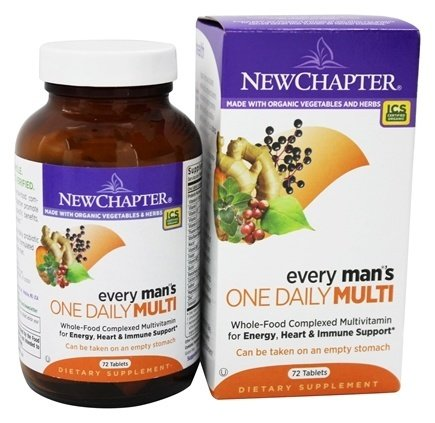 New Chapter Every Man's One Daily, Men's Multivitamin Fermented with Probiotics + Selenium + B Vitamins + Vitamin D3 + Organic Non-GMO Ingredients - 72 ct (Packaging May Vary) ()