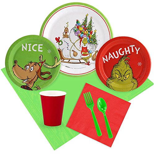Costume SuperCenter Dr. Seuss Grinch Christmas Tableware Kit (Serves 8) -