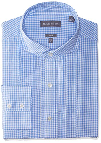 (Michael Bastian Men's Slim Fit Pintuck Tux Bib Spread Collar Dress Shirt, Gingham Check/White/Blue, 15.5