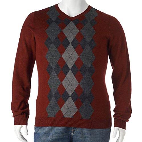 Liz Claiborne Apt 9 Argyle Merino Wool Blend Sweater V-Neck (2XLT (XXLT))