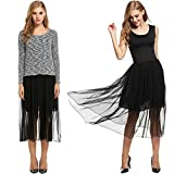 Showyoo Womens Casual Long Sleeve 2 Piece Dress Set Black Tulle Swing Dress Black M