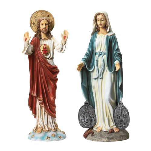 Design Toscano Devotional Art Collection Italian Style Religious Garden Statues, 23 Inch, Set of Two Jesus and Madonna, Polyresin, Full Color 8' Sacred Heart Statue