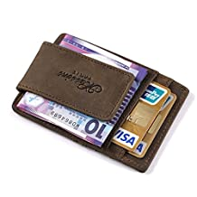 Teemzone® Mens Wild Crazy Horse Leather Money Magnetic Clip ID Case Card Holder Pocket (Brown)