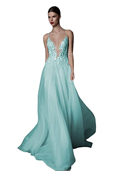 Ai Maria Womens Sexy Deep V Neck Straps Embroidered Chiffon Backless Long Prom Dresses