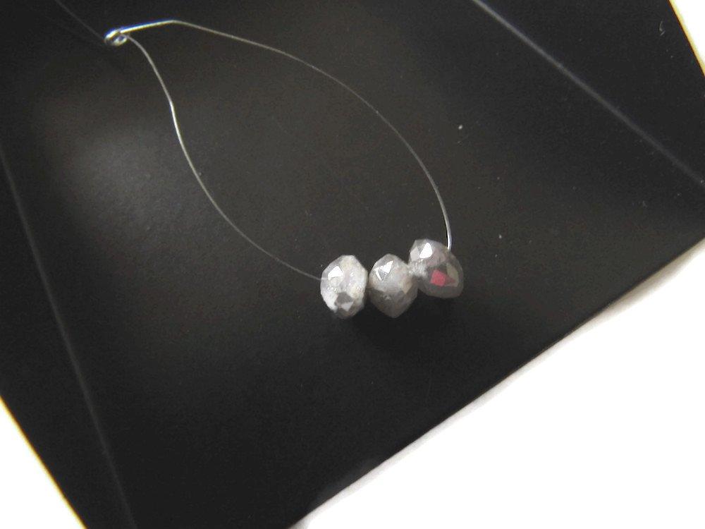 3 Beads, 5mm, Grey Raw Diamond Beads, Rough Diamond Beads, Natural Diamonds, Diamond Faceted Rondelles