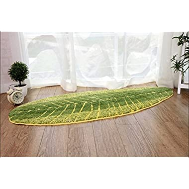 Nicedeco Green Leaves Rug Approx. 45*120cm(17.7 x 47.2 inches) Soft/Flexible/Smooth Carpet/Rug/Mat nice looking Suitable For Stairway/Toilet/Floor/Bathroom/Kitchen/Bathroom/Kitchen/Area