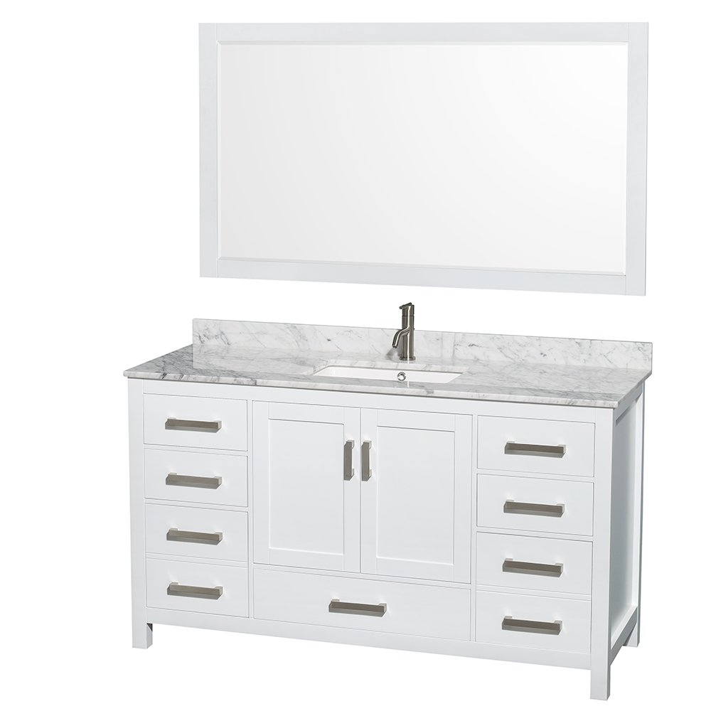 wyndham collection sheffield 60 inch single bathroom vanity in white white carrera marble countertop undermount square sink and 58 inch mirror - 60 Bathroom Vanity
