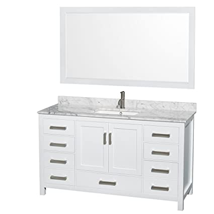 Attirant Wyndham Collection Sheffield 60 Inch Single Bathroom Vanity In White, White  Carrera Marble Countertop,