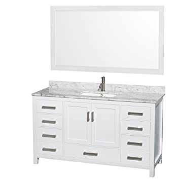 wyndham collection sheffield 60 inch single bathroom vanity in white white carrera marble countertop