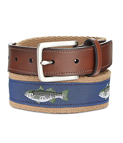 - Preppy Fabric with Ribbon Inlay Men's Belt (34, Khaki)