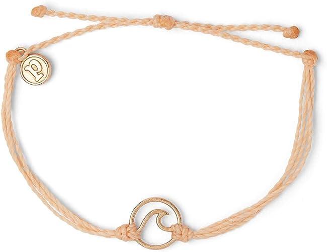 Plated Charm Adjustable Band 100/% Waterproof Pura Vida Rose Gold Wave OG Bracelet