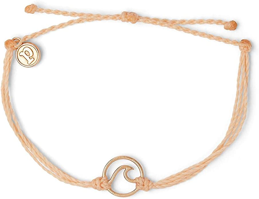 Adjustable Braided Band Pura Vida Delicate Wave Bracelet w//Silver or Rose Gold-Plated Brass Casting Waterproof