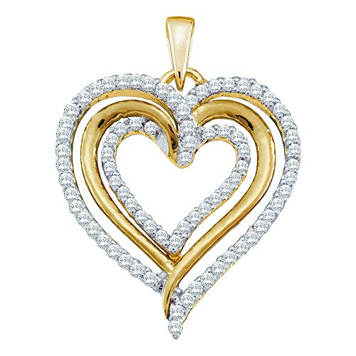 Diamond Pendant for Women 10kt Yellow Gold Round Heart Love 3/8 Cttw - Heart Pendant 10kt Gold Jewelry