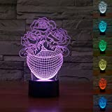 3D Rose Flower Vase Night Light 7 Color Change LED Table Desk Lamp Acrylic Flat ABS Base USB Charger Home Decoration Toy Brithday Xmas Kid Children Gift