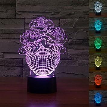 Amazon.com: 3d Rose Jarrón de flores Luz Nocturna 7 cambio ...