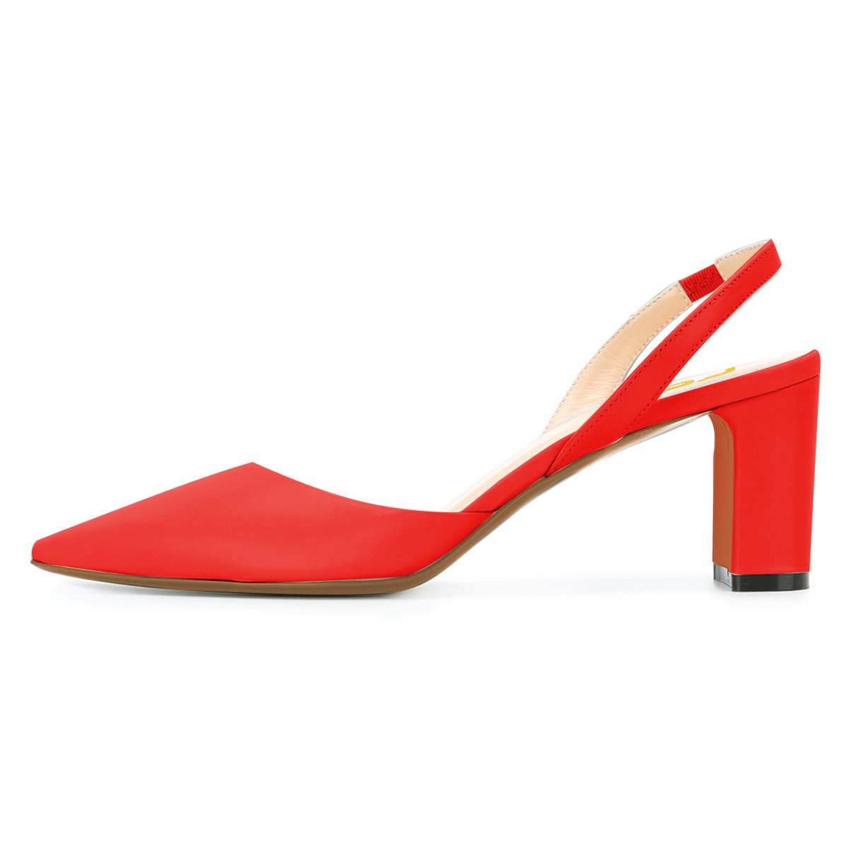 0ccc48fb1451 ... FSJ Women Classic Pointy Pointy Pointy Toe Pumps Chunky Mid Heels  Slingback Sandals Comfortable Shoes Size ...