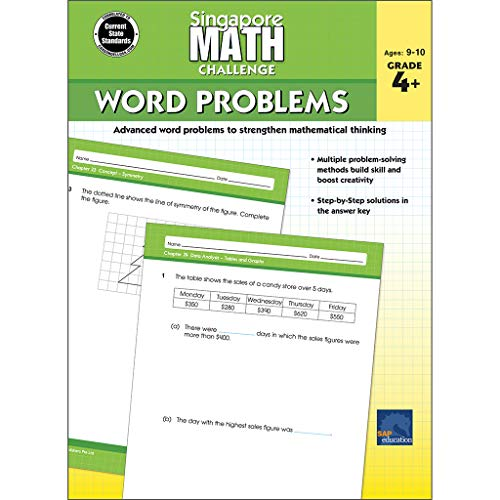 Singapore Math - Challenge Word Problems Workbook for 4th, 5th, 6th Grade Math, Paperback, Ages 9-10 with Answer Key