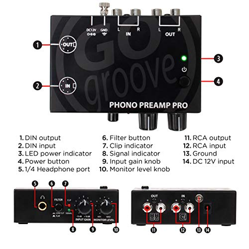 GOgroove Phono Preamp Pro Preamplifier with RCA Input/Output, DIN Connection, RIAA Equalization, 12V AC Adapter - Compatible with Vinyl Record Players, Turntables, Stereos, DJ Mixers by GOgroove (Image #3)