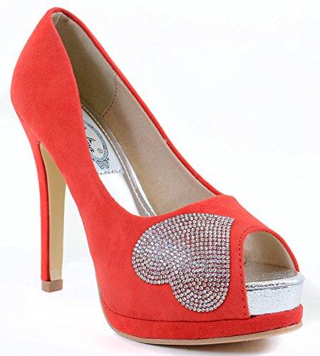 Fourever Funky Women's Vegan Jeweled Heart Peep-Toe Platform Pump Stilleto Heels Red