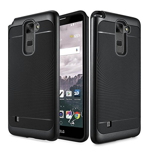 (LG Stylo 2 Plus Case, ATUS - Slim Dual Layers [ Shockproof ] Textured Pattern Grip Cover With Tempered Glass (Black))