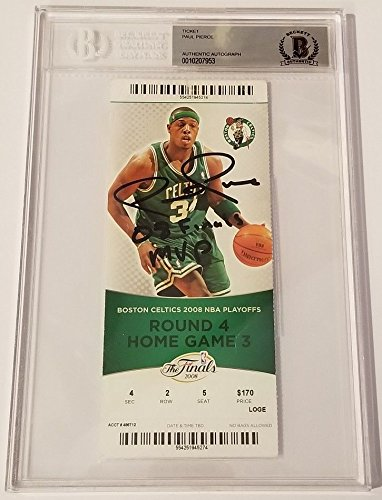 Paul Pierce Signed Autograph 08 Finals Mvp NBA Finals Ticket Boston Celtics Beckett Bas