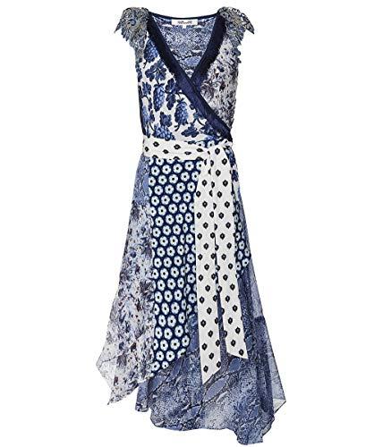 Dress Dvf Silk Wrap (Diane von Furstenberg Women's Ava Silk High-Low Wrap Dress Blue M)