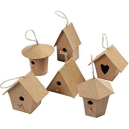Mini casitas de papel maché para pájaros para manualidades de niños y adultos para decorar y adornar (paquete de 6)