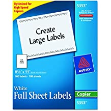 """Avery Full-Sheet Labels for Copiers, 8-1/2"""" x 11"""", Box of 100 (5353)"""