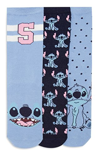 DISNEY OFFICIAL STITCH LADIES 3 PAIRS ANKLE SOCKS SIZE UK 4-8