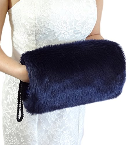 Bridal Navy Blue Faux Fur Hand Muff Large