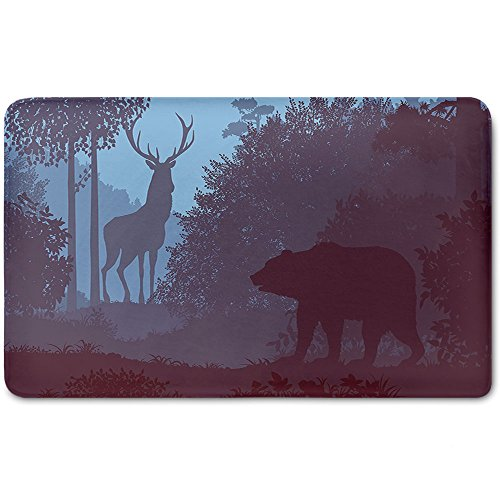 Memory Foam Bath Mat,Cabin Decor,Grizzly Bear and Antler Mysterious Woods Smoky Jungle Fauna LandscapePlush Wanderlust Bathroom Decor Mat Rug Carpet with Anti-Slip Backing,Sky Blue Dried Rose by iPrint (Image #1)