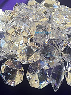 "120 Pieces 1"" inch x 1-3/8 "" (22mm x 35 mm) Crystal Clear Acrylic Diamond Jewels for Party Decoration ,Event ,Wedding , Vase Fillers. By Sunrise Crystal"