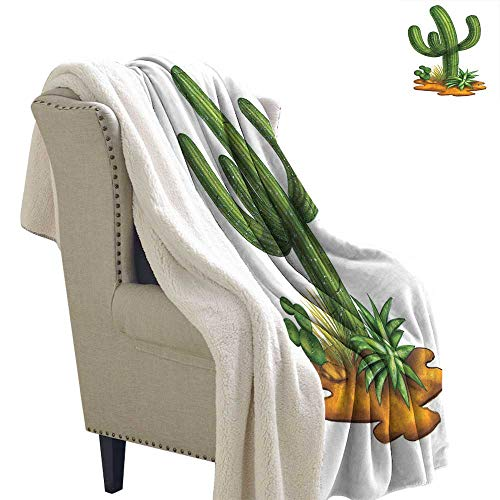 Benmo House Digital Printing Blanket Cactus,Arid Climate Flora Saguaro Plant Succulent Illustration South America Mexico,Green Pale Caramel Life Comfort Throw Blanket 60x47 Inch (Bench Therapy Galaxy)