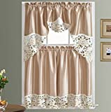 GOHD SUMMER PASSION Kitchen Curtain Set/Swag valance & tier set. Nice matching color rose embroidery on border with cutworks (Beige)