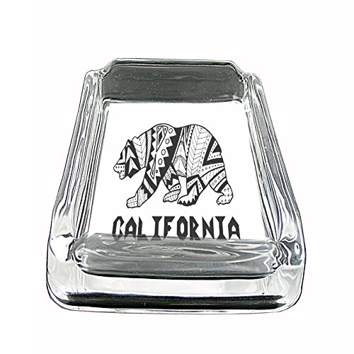 California Bear Glass Ashtray 4'' X 3'' D6 State Animal Bear Flag California Republic Cali by Perfection In Style