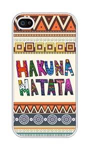 iZERCASE Hakuna Matata On Aztec Pattern RUBBER iPhone 4 / iPhone 4S Case - Fits iPhone 4, iPhone 4S T-Mobile, AT&T, Sprint, Verizon and International