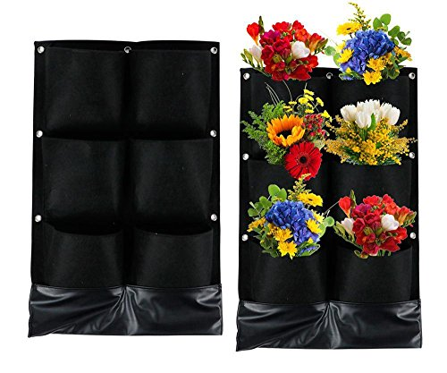 Topeakmart Vertical Garden Planter 16''x 26'' Wall Hanging Felt Plant Grow Bag Herbs Vegetables Flowers For Yard Garden Home Decoration (6 - Wall 26' Hanging