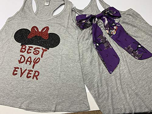 Handmade Disney Halloween Shirt with Nightmare Before Christmas Bow on back Best Day Ever Minnie Mouse -
