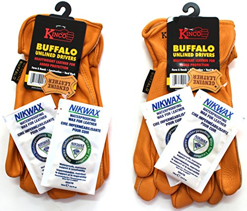 Kinco - 81, Buffalo Leather Work Gloves for Men, 2-pack of Kinco's Toughest & Durable with Nikwax Waterproofing (Large) ()