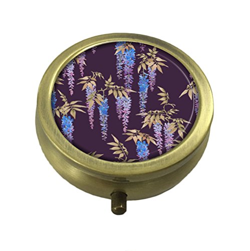 GDEE Clusters of violet blue flowers of wisteria Custom Fashion Stainless Steel Bronze Pill box Western Tablets Tablet Holder Management Case Pocket or (Bronze Violet)