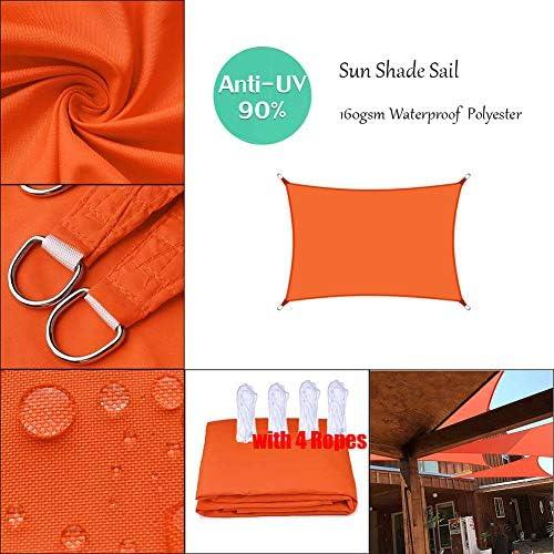 長方形の日よけの帆UVブロック防水日よけキャノピーオレンジ、屋外ガーデンパティオテラスカバー用、無料ロープ付き、カスタマイズ-5x6m