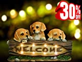 Garden Statues Solar Powered Welcome Sign, 14 Inch Dog Figurines with LED Lights, Outdoor Holiday Decorations