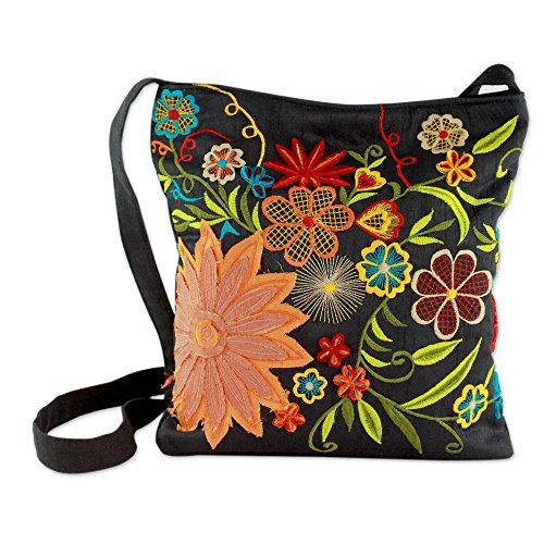 NOVICA Multicolored Embroidered and Applique Cotton Blend Shoulder Bag, Tropical Paradise'