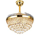 Lighting Groups Invisible Ceiling Fans 42 Inch 4 Retractable Blades LED Ceiling Fan Crystal Chandelier with Remote Control Has Three Change Colors White Light,Warm Light,White Warm Light (Gold-02) For Sale